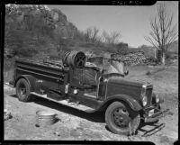 Fire engine used to combat wildfires, Malibu, 1936