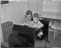 """George """"Spanky"""" McFarland and his brother Tommy in school, Los Angeles, 1936"""