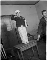 """George """"Spanky"""" McFarland saluting in costume, Los Angeles, 1936"""