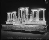 Grecian-themed float created for the Hoover Dam Power Inaugural, Los Angeles, 1936