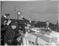 Kansas Governor Alf M. Landon visiting Los Angeles during his campaign for President, Los Angeles, 1936