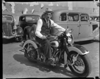 Judge Irvin Taplin on a motorcycle, Los Angeles, 1936