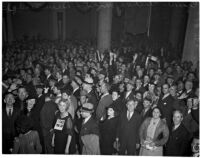 Crowd rejoices at the Democratic headquarters after Franklin D. Roosevelt wins the presidential election, Los Angeles, 1936