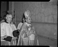John Joseph Cantwell leaving the Cathedral of St. Vibiana after being appointed archbishop, Los Angeles, 1936