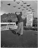 Sam Parks Jr. from Pittsburgh taking a swing at the 12th annual L.A. Open golf tournament, Los Angeles, 1937