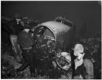 Western Air Express plane crash in the mountains near Olive View sanatorium that left five dead, Los Angeles, 1937