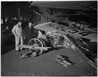 Airplane wreckage after head-on collision with an automobile at Clover Field, Santa Monica, 1937