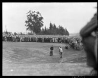 Crowd watches golfer compete at the 12th annual Los Angeles Open golf tournament, Los Angeles, 1937