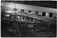 Airplane at the Douglas Aircraft Corporation plant, the location of a sit-down strike, Santa Monica, 1937