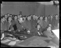 Striking Douglas Aircraft Corporation workers in court, Santa Monica, 1937