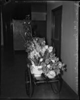 Flowers brought to Buron Fitts while he was recovering from a gunshot wound, Los Angeles, 1937