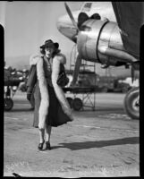 Actress Phyllis Brooks at an airfield, Los Angeles, 1937