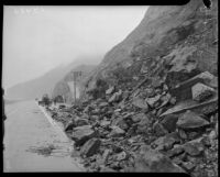 Debris blocks the Pacific Coast Highway after a landslide in Topanga Canyon, Los Angeles, 1930s
