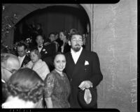 Actor Paul Muni and his wife Bella at the Academy Awards, Los Angeles, 1937