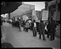 Los Angeles Country Relief Administration workers strike due to salary cuts, Los Angeles, 1930s