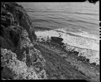 """Lady Luck"" boat shipwrecked at Rocky Point, Redondo Beach, 1930s"