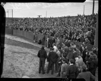Crowd gathers to hear strike organizers speak during the Douglas Aircraft strike, Santa Monica, 1937