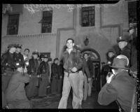 Satisfied strikers walk out of Douglas Aircraft Corporation plant, Santa Monica, 1937