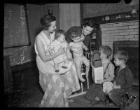 Women care for children at the nursery set up during Douglas Aircraft Corporation strike, Santa Monica, 1937