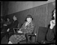 Mary Plettner, juror for the Helen Wills Love murder trial, at Love's trial, Los Angeles, 1937