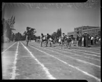 Track athletes pass batons during the All-City High School track and field meet, Los Angeles, 1937