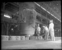 Steel workers at the Columbia Steel Company's plant, Torrance