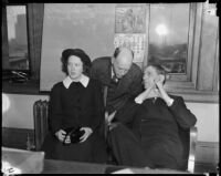 Cult victim Delight Jewett with her father Norman Jewett and U.S. Attorney Fleet Palmer, Los Angeles, 1937