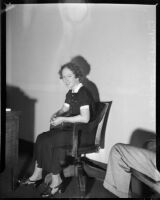 Cult victim Delight Jewett in the office of U.S. Attorney Fleet Palmer, Los Angeles, 1937