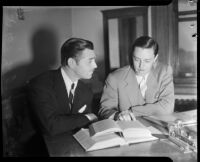 Film actor Clark Gable speaking with U.S. Attorney Jack Powell, Los Angeles, 1937