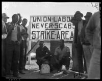 Craft workers strike against major motion picture studios, Los Angeles, 1937