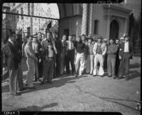 Craft workers on strike stand outside Paramount Pictures, Los Angeles, 1937