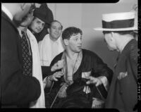 Heavyweight boxer Bob Pastor before a fight with Bob Nestell at Wrigley Field, Los Angeles, 1937