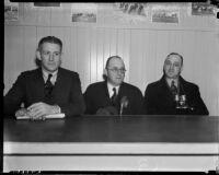 Sportswriters Chuck Egan, Abe Kemp and Moody Karper at Santa Anita Racetrack, Arcadia, 1930s