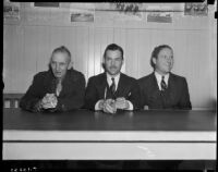 Sportswriters Lee Owen, Bob Herbert and Oscar Otis at Santa Anita Racetrack, Arcadia, 1930s