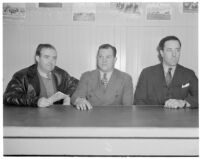 Sportswriters J.J. Murphy, Maurice Bernard and Bill Amis at Santa Anita Racetrack, Arcadia, 1930s