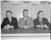 Sportswriters Jack McDonald, Paul Lowry and Tom Laird at Santa Anita Racetrack, Arcadia, 1930s