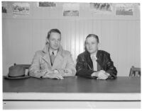 Sportswriters Duke Linderman and Daniel Lauder at Santa Anita Racetrack, Arcadia, 1930s
