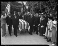 "Funeral procession for longshoreman Norman ""Big Bill"" Gregg, San Pedro, 1937"