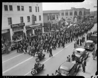 "Funeral procession for longshoreman Norman ""Big Bill"" Gregg, San Pedro, 1937"