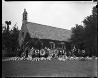 Flowers placed at the Wee Kirk O' the Heather chapel, in honor of Jean Harlow after her sudden death, Los Angeles, 1937