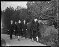 Film stars Clark Gable, Norma Shearer, Carole Lombard, and producer Louis B. Mayer walking to Jean Harlow's funeral service, Los Angeles, 1937