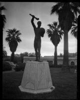 "Nina Saemundsson's statue of ""Prometheus Bringing Fire"" in MacArthur Park, Los Angeles, 1937"