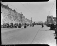 Police on motorcycles on the L.A.P.D. parade route, Los Angeles, 1937