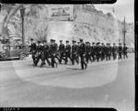 Police on foot at the L.A.P.D. parade route, Los Angeles, 1937