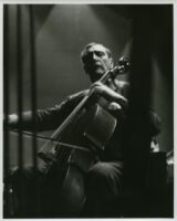 Gregor Piatigorsky playing cello in rehearsal, 1947 [descriptive]