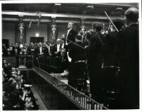 Evgeny (Yevgeny) Mravinsky in concert with the Leningrad Philharmonic Orchestra in Vienna, 1956 [descriptive]
