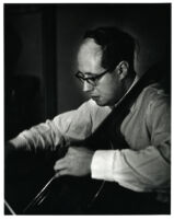 Mstislav Rostropovich playing the cello, 1956 [descriptive]