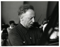 Arthur Rubinstein playing the piano, Los Angeles, 1958 [descriptive]