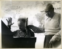 Arthur Rubinstein at the piano with Sergei Koussevitzky, Los Angeles, 1957 [descriptive]