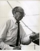 Aaron Copland at the podium, Los Angeles, 1960 [descriptive]